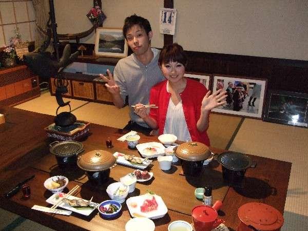 お食事中の記念写真