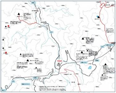 平湯周辺山の地図
