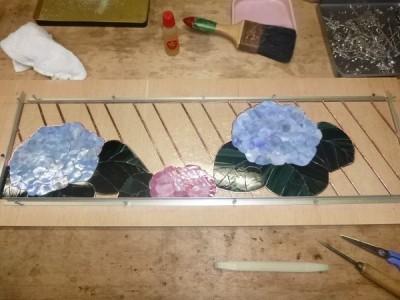 紫陽花,ステンドグラス,製作中
