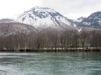 春,大正池,焼岳